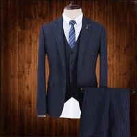 (Пиджак + брюки + жилет) новый бренд Для мужчин костюмы темно синий костюм в полоску Пиджаки Slim Fit мужские смокинги Жених свадьба Пром Бизнес