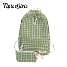 Popular Lattice Youth Backpack Bag 2 Pcs in Set Fashion Soft Quality Cotton Fabric Famale Bags