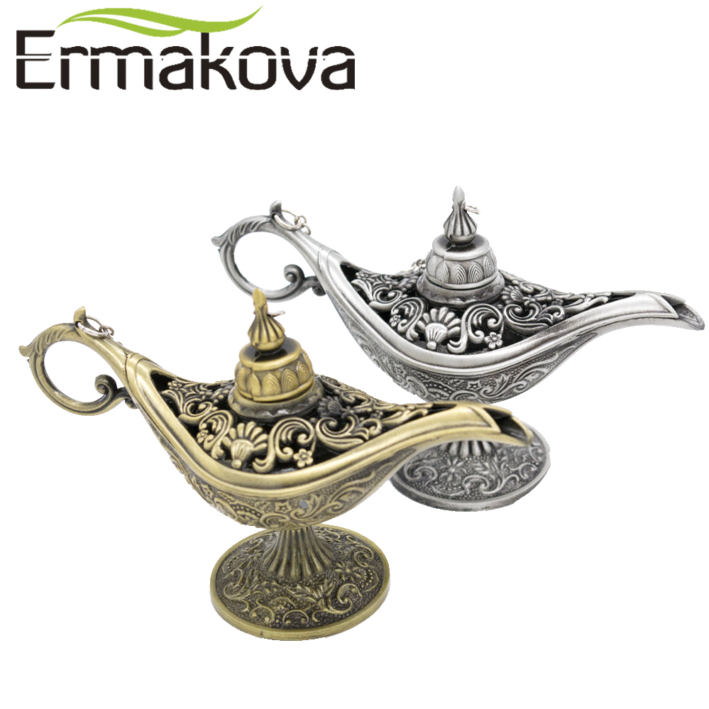 ERMAKOVA Large Size Metal Aladdin Magic Lamp Pot Retro Wishing Oil Lamp Genie Lamps Incense Burner for Incense Cone Gift