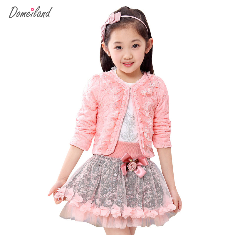 2017 fashion domeiland children clothing kids flower outfits sets girl 3pcs Princess lace ruffle cardigan tops