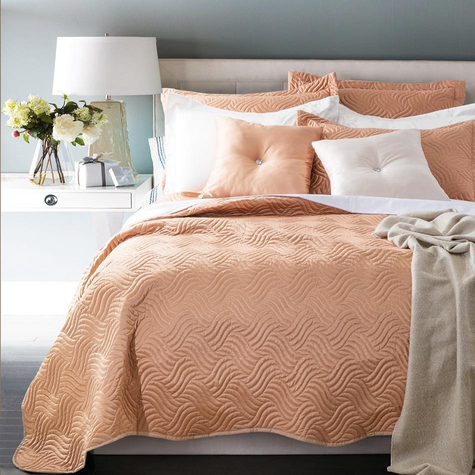 ̿̿̿(•̪ )Marrón claro 100% algodón colcha para adultos, 230x250 cm ...