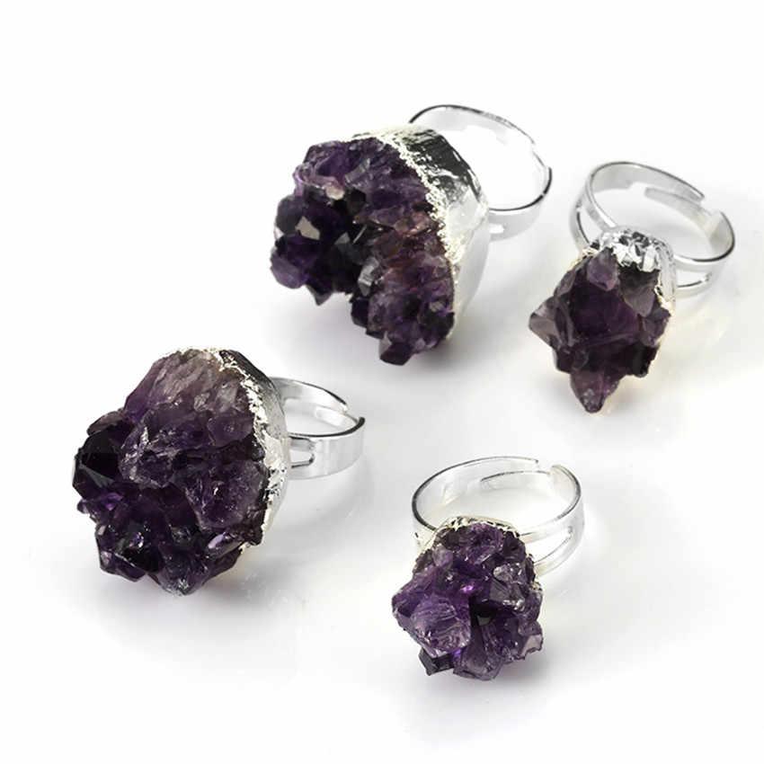 Крафт-с бусинами посеребренный неправильной формы изменяемые природные пурпурные аметисты Камень Кристалл кольцо Шарм ювелирные изделия