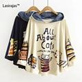 New outono inverno hoodies do pulôver de manga longa com capuz solto impressão cat kawaii estilo japonês harajuku hoodies tops bonito manto
