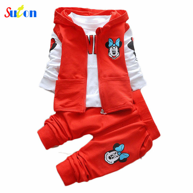 2017 New autumn/spring Baby Girl/Boys clothing Sets Vest Hooded+T shirt+Pants kids 3PCS Cute Casual suit Sport boys outfits 2-5Y