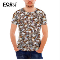 FORUDESIGNS 3D Summer Short Sleeve T Shirt For Men Funny Pug Dog Puzzle Top Tees Male