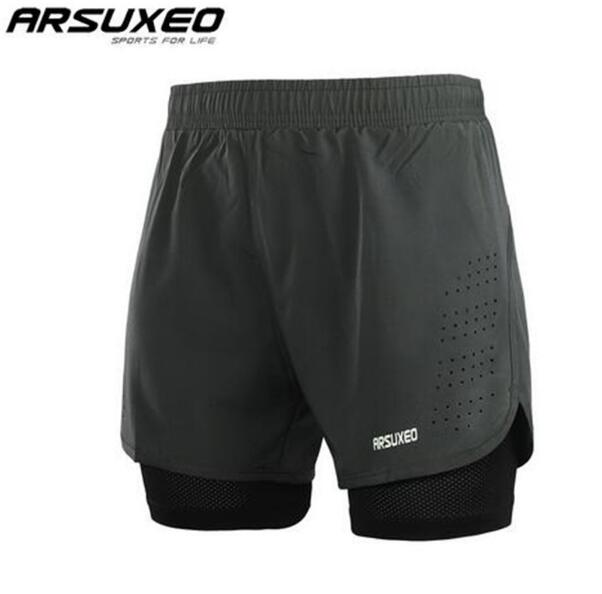 ARSUXEO Mens 2 in 1 Running Shorts Quick Drying Breathable Active Training Exercise Jogging Shorts Gym Shorts Elastic Waist in Running Shorts from Sports Entertainment