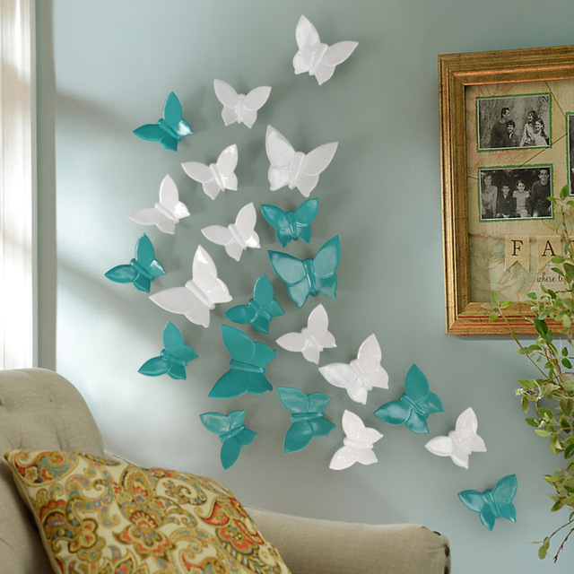 Free Shipping Butterfly Statue Wall Decoration Statues Sculptures Home Hanging Decor Mural Resin Crafts