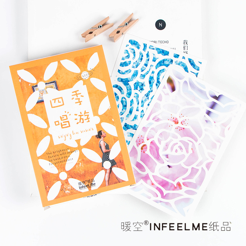30pcs/lot Four Seasons Lovely Cartoon Plants Kawaii Cartoon Postcards Cute DIY Envelop Gift Card Creative Bookmark