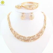 cec21628f0ee Joyería fina para las mujeres moda cristal boda oro color hueco collar  Pendientes pulsera Anillos Sets Complementos para disfrac.