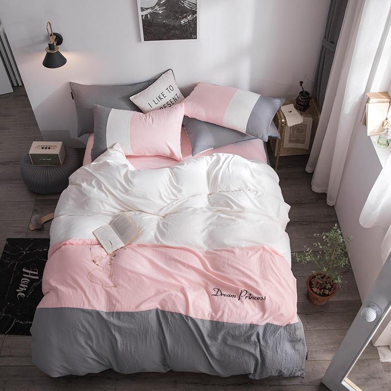 Bedding Set Color Matching Bed Set Luxury Bed Sheet Queen King Size Mashup Duvet Cover Set Grey White Pink And Orange Bed Linen