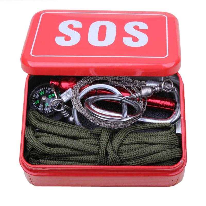 Équipement de plein air avec paracord pour la liaison d'urgence Mousqueton survie boîte SOS Camping Randonnée vu/feu outils chine