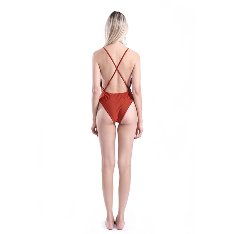 e36e5f9204f11 Special Pearlescent coral red Swimwear Womens Customized one piece Cross  back Brazilian Swimsuit Lining Bathing Suit S XL Drop-in Body Suits from  Sports ...