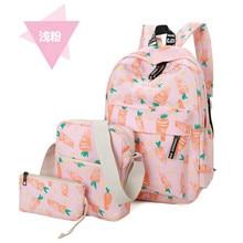 3pcs set Hot Women Printing Backpack for School Teenagers Girls Canvas school bags Vintage Ladies laptop bag Backpaks mochilas