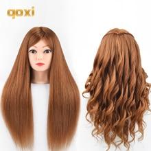 Qoxi Professional training головок с 60% реальные человеческие волосы могут быть свернуты практика Парикмахерские Манекен Куклы укладки maniqui