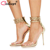 Coolcept Women Sandals Sexy High Heel Cover Heel Women Shoes Summer Party Shoes Gold silver Chain Women Sandals