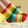 Girls socks spring autumn kids socks cotton rainbow children striped socks for boys 1-12 year baby socks