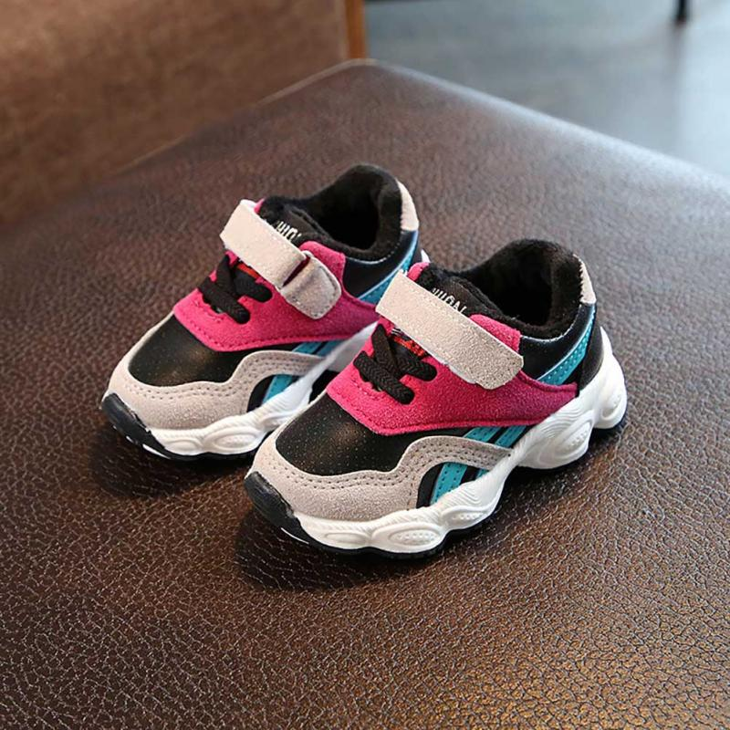 2018 Spring Autumn Winter New Children's Sports Shoes Cashmere Cotton Shoes Kids Outdoor Running Walking Sneakers