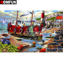 HOMFUN Full Square/Round Drill 5D DIY Diamond Painting Seaside boat Embroidery Cross Stitch 5D Home Decor Gift A07953 homfun full square round drill 5d diy diamond painting seaside scenery embroidery cross stitch 5d home decor gift a14337