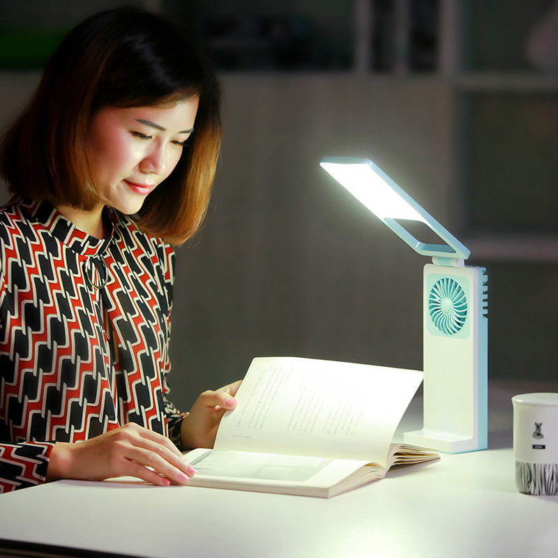 Usb Rechargeable Desk Lamp Fan Outdoor Car Desk Lamp Fan Mini Desk Lamp With Fan Mini Portable Fan Use Home Office Dormitory portable cooling fan with mini usb cute mermaid handheld rechargeable practical for office home school use