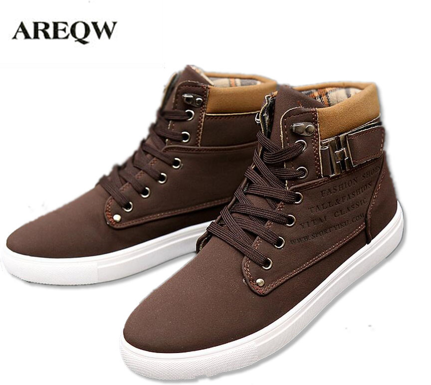 AREQW 2017 High Quality Comfortable Fashion Ankle Boots Casual new men 's trend of Martin boots Korean high - tie lace shoes 2017 high quaitily casual fashion 024