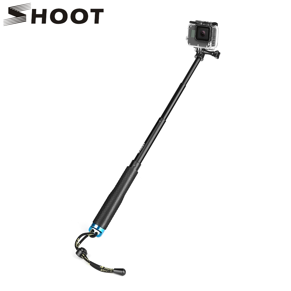 SHOOT Selfie Stick Monopod Mount for GoPro Hero 6 5 7 Black Xiaomi Yi 4K Sjcam Sj7 Eken H9 H9r Go Pro Action Camera Accessories shoot jaws flex clamp mount for gopro hero 7 6 5 xiaomi yi 4k sjcam eken h9r with bucket tripod holder for go pro hero accessory