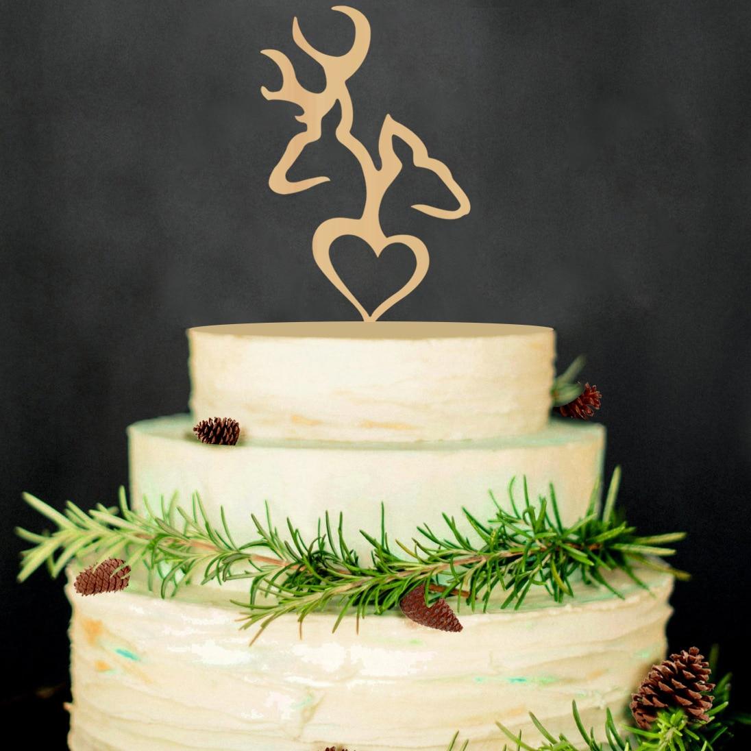 Wooden Heart Wedding Cake Topper