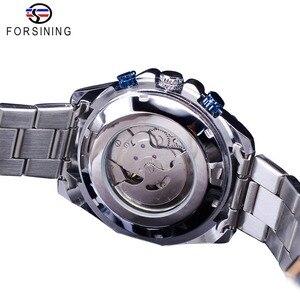 Image 4 - Forsining 2019 nowy niebieski projekt kompletna kalendarz 3 małe pokrętło srebrny ze stali nierdzewnej automatyczne mechaniczne zegarki dla mężczyzn zegar