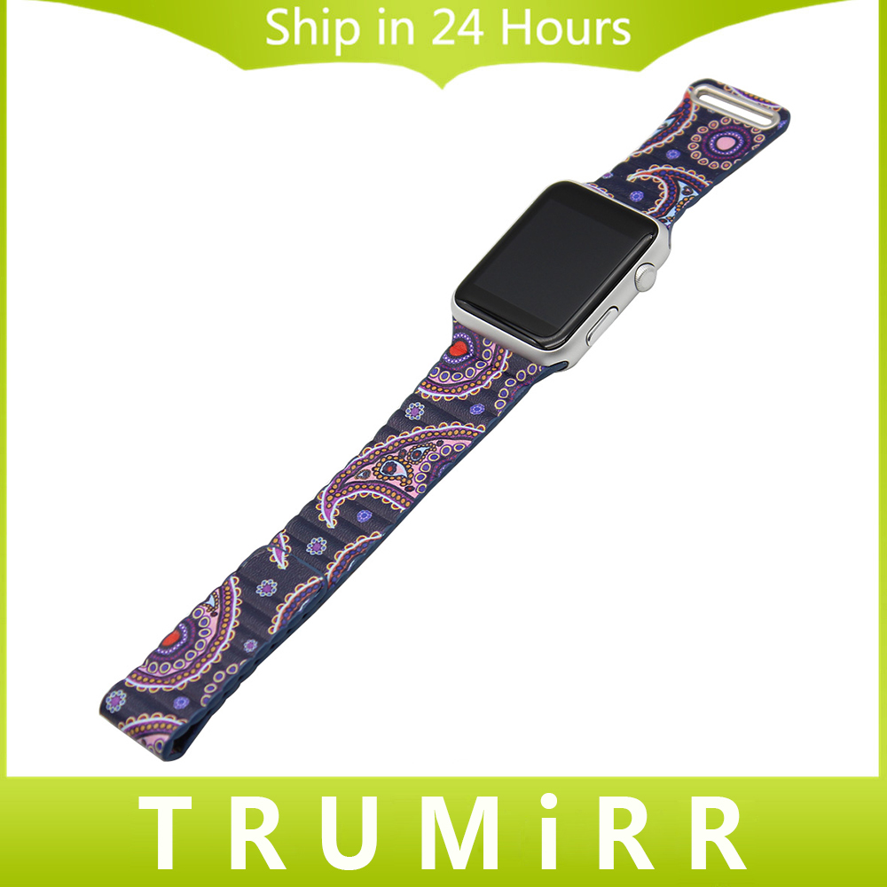 Genuine Leather Band + Magnetic Lock + Adapters for iWatch Apple Watch 38mm 42mm Colorful Strap Replacement Belt Wrist Bracelet