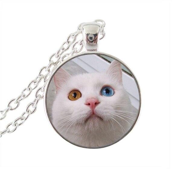 803fb14fd18 Gato branco pingente de colar encantador kitty jóias cúpula de vidro rodada  pingentes colares animais para melhores amigos corrente de prata gargantilha