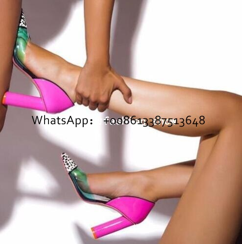 2017 Hot Sexy Fashion Transparent Colorblock Leopard Pumps Slip On Pink Chunky Heel Women Party Shoes High Heels Pumps