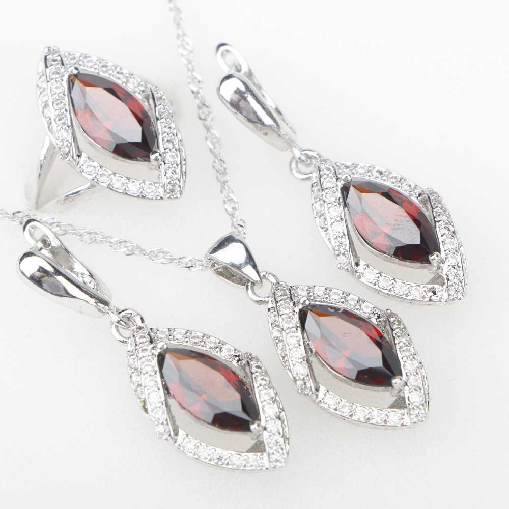 Red Garnet CZ Silver 925 Costume Jewelry Sets Pendant Necklace Rings Earrings Decorating In Women's Jewelery Set Free Gift Box
