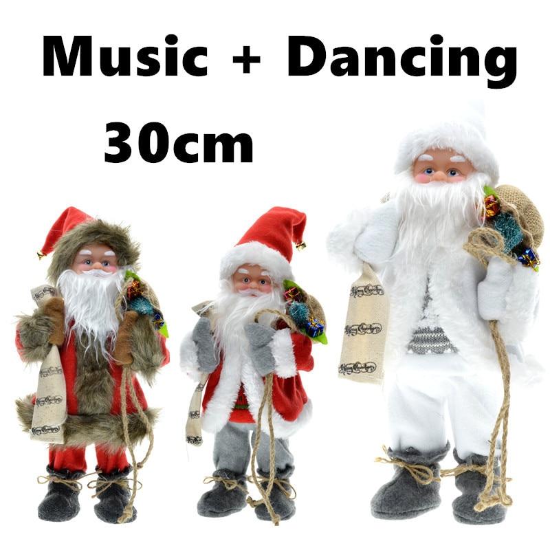 30cm Πρωτοχρονιά Χριστουγεννιάτικα Στολίδια Ηλεκτρικό Άγιος Βασίλης Μουσικό Χορεύοντας Χνουδωτά Παιχνίδια Κούκλες Δώρα για Παιδικά Αρχική Διακοσμητικά Χειροτεχνία