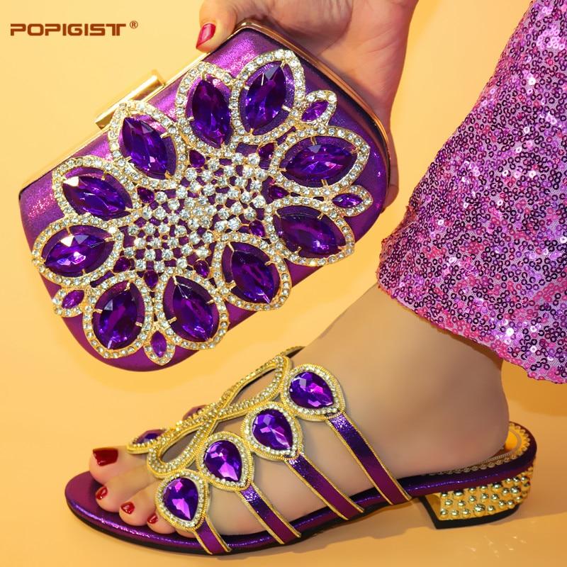 Femme Sac Avec Femmes purple Assorti De Qualité Haute Gold Set Africain Pour Et Italiennes silver red Or Chaussures Des Mariage 8qgCwS