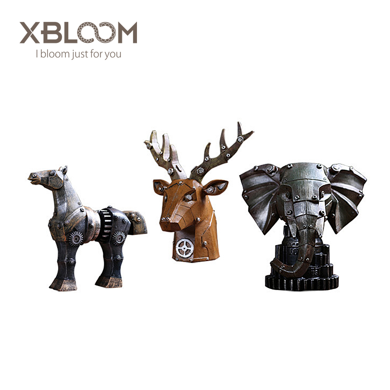 Zakka retro gear mechanical red deer elephant animal ornament decoration home decoration accessories House decorated statue