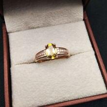 Lanzyo 925 Настоящее серебро цитрин кольца девушки подарок на