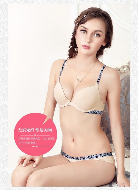 e74db00c42 Smooth silk seamless one piece t-shirt bra brief set leopard bra push up  cute sweeties ladies underwear