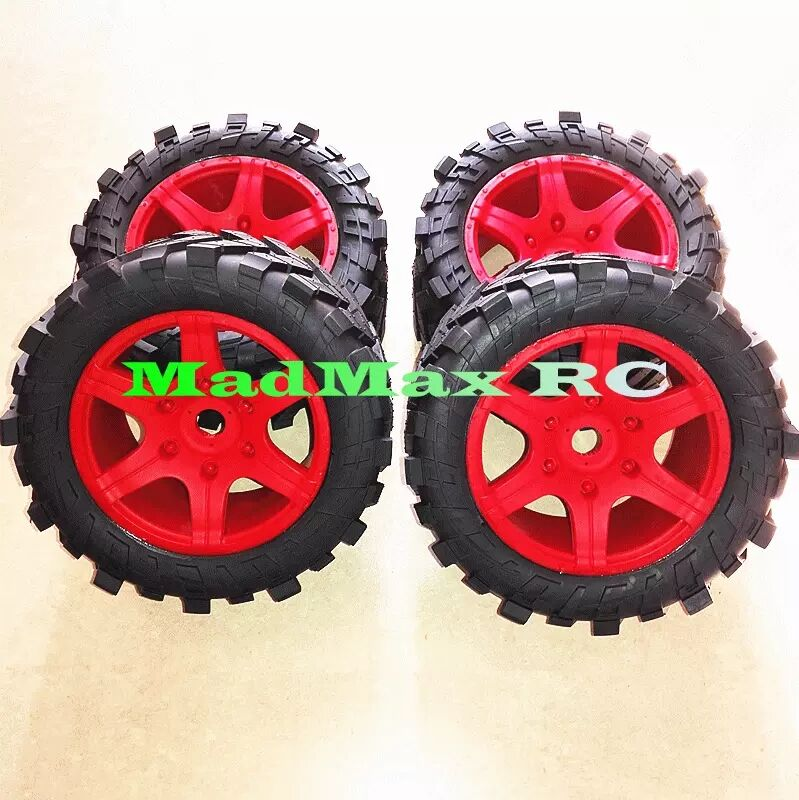 Wheels Waterproof and wear-resistant Widened Tire + wheel nuts Size 219MM*105MM red color FOR 1/5 TRAXXAS X-MAXX RC CAR PARTSWheels Waterproof and wear-resistant Widened Tire + wheel nuts Size 219MM*105MM red color FOR 1/5 TRAXXAS X-MAXX RC CAR PARTS