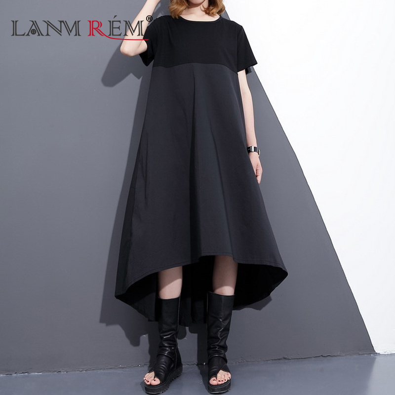 LANMREM 2018 New Summer Round Neck Short Sleeve Split Joint Hit Color Black Large Size Loose Dress Women Fashion Tide F55