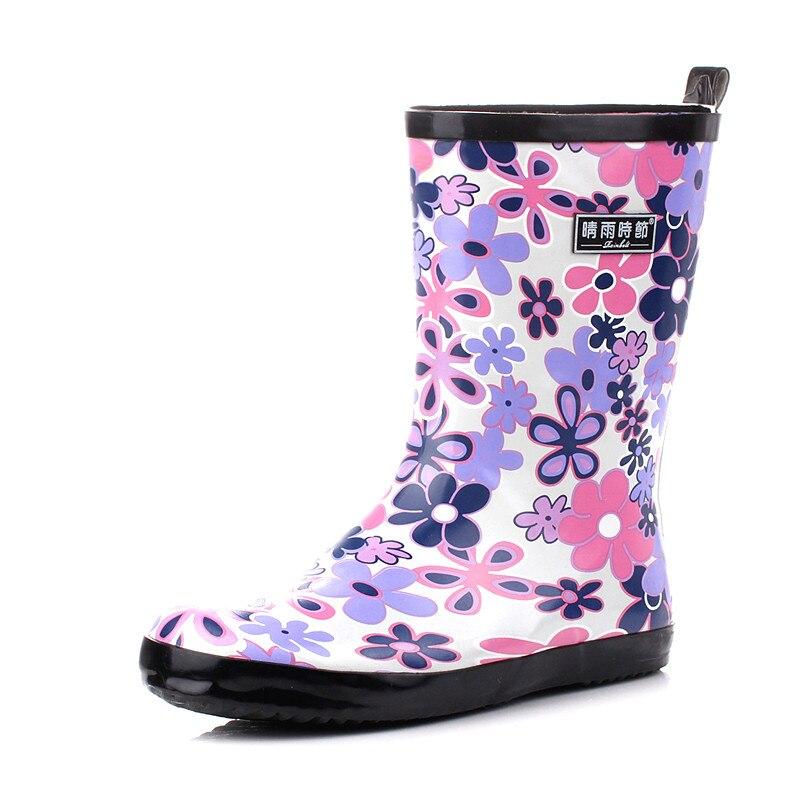 Purple flower fashion rain boots Korean female adult summer flat skid SUB1241
