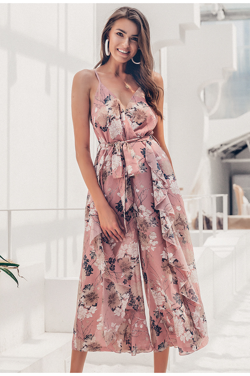 Simplee Bohemian floral print women jumpsuit Sexy v-neck spaghetti strap sashes jumpsuit romper Elegant ruffled female overalls 2