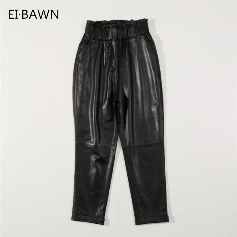 2018 Femmes 4XL Harlan Pantalon Véritable En Cuir Noir Élastique Taille Haute Taille Plus Taille Streetwear Réel en peau de Mouton Femelle Pantalon