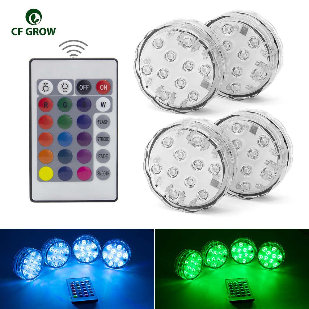 10LED RGB LED Underwater Light Pond Submersible IP67 Waterproof Swimming Pool Light Battery Operated For Wedding Party