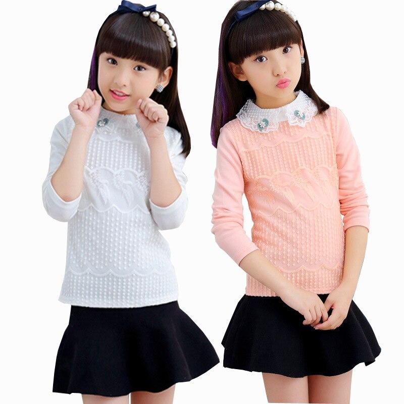 3-12yrs Mädchen Weiß Rosa Bluse Spitze Bluse Für Schule Teen Mädchen Langarm Shirts Frühling Herbst Mode Kinder Kleidung Modische Muster Mädchen Kleidung