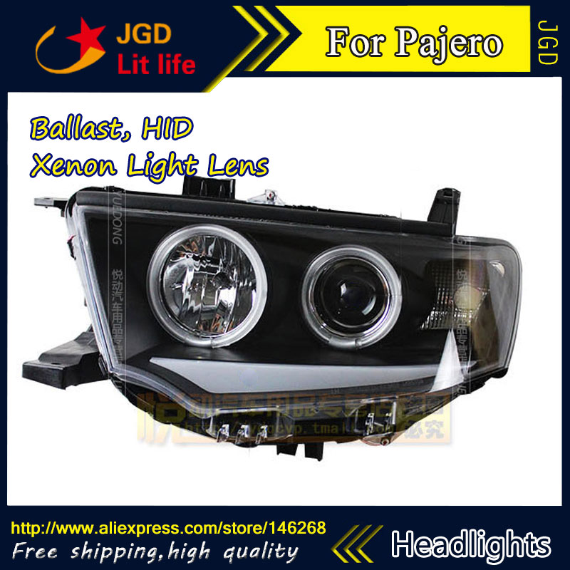 Free shipping ! Car styling LED HID Rio LED headlights Head Lamp case for Mitsubishi Pajero sport 2011 2012 2013 Bi-Xenon Lens