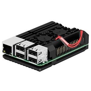 Image 1 - Boîtier de blindage pour Raspberry Pi, boîtier métallique pour Raspberry Pi, avec double ventilateur en alliage daluminium, ventilateur pour Raspberry Pi 3 modèle B +