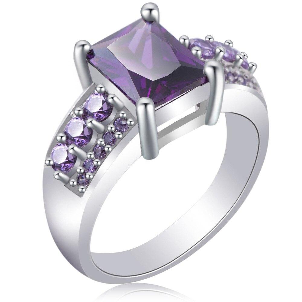 Горячий камень cz руководство более ювелирные изделия кольца CZ приятно фиолетовый кольцо