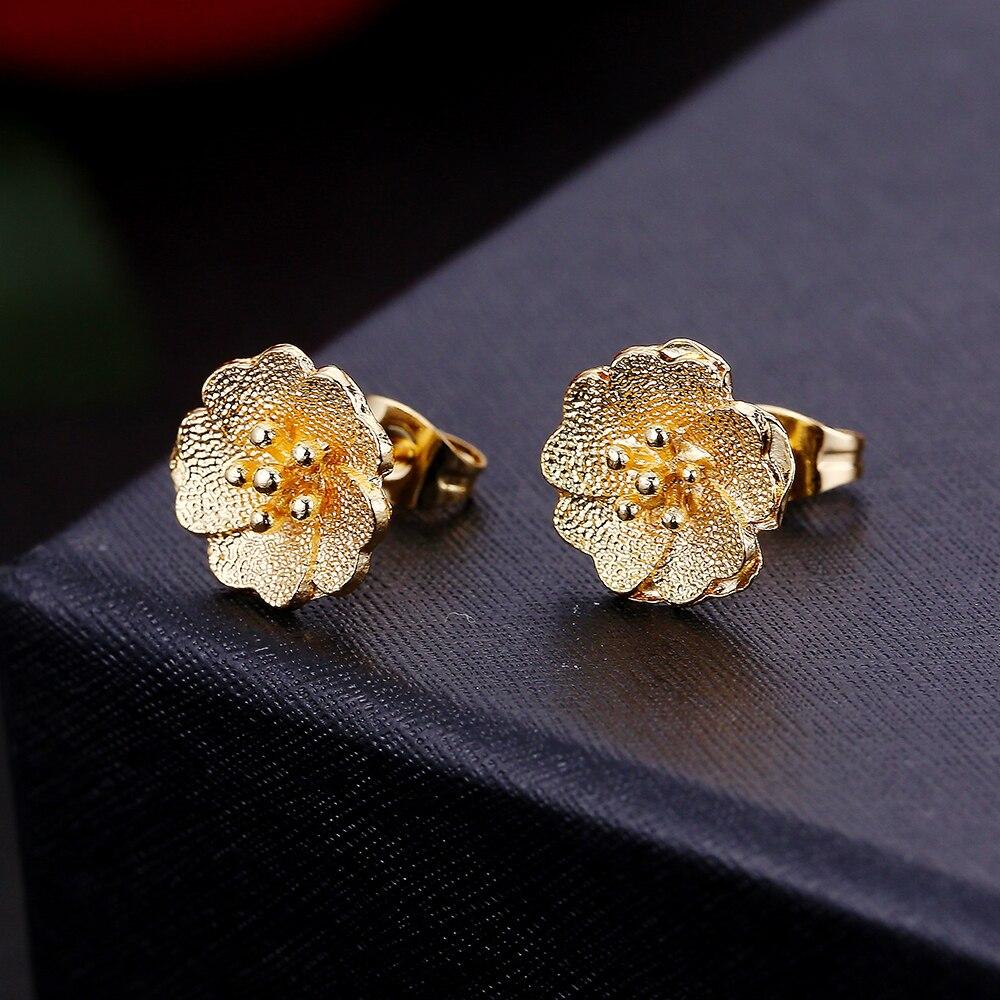 ECODAY 2 Color Fashion Flowers Stud Earrings Gold Color Earrings for Women Oorbellen Jewelry Accessories in Stud Earrings from Jewelry Accessories