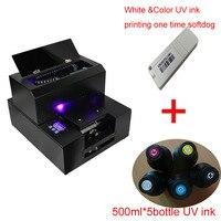 Планшетный светодио дный Светодиодный УФ принтер A4 размер с УФ чернилами 500 мл * 5 бутылок и RIP поддержка белый цвет печати один раз
