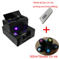 Flatbed LED UV printer A4 size with UV ink 500ml*5bottles and RIP support white&Color printing one time