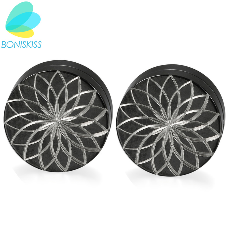 Boniskiss Stainless Steel Earings Round Trendy New Hot Magnet Stud Earrings Korean Style ...